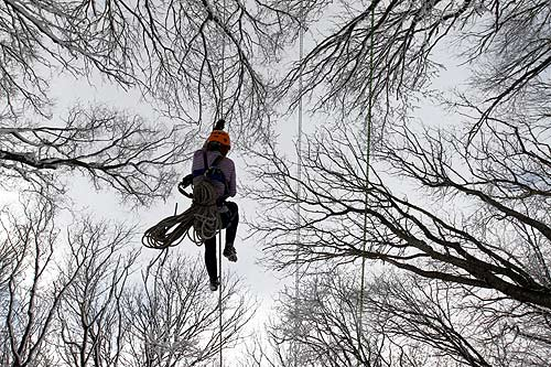 A participant climbs on a rope during a regional tourism competition among school students in a forest in Russia's southern city of Stavropol.
