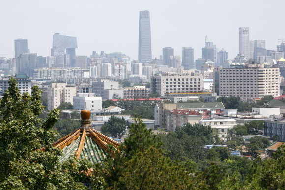 A general view of Beijing skyline on a clear day.
