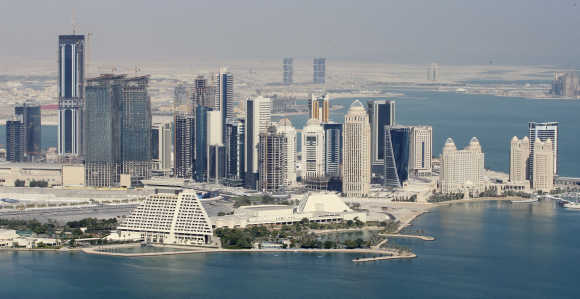An aerial view of Doha skyline.