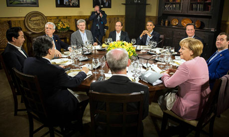G8 leaders sit for a working dinner during last weekend's G8 summit at Camp David