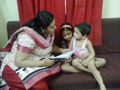 Sarbani Dutta with her daughter and niece.