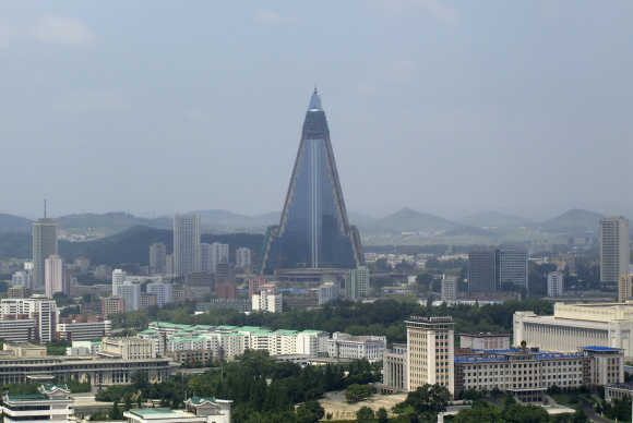 The 105-storey Ryugyong Hotel with glass panels is seen in Pyongyang.