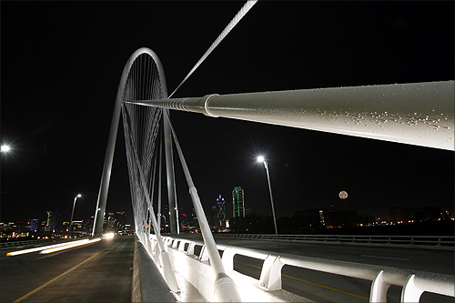 A general view of the 446-foot-high (136-meter-high) Margaret Hunt Hill Bridge in Dallas.