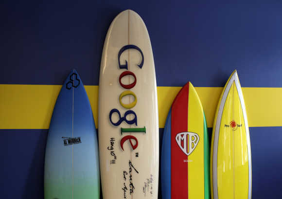 Surfboards lean against a wall at the Google office in Santa Monica.