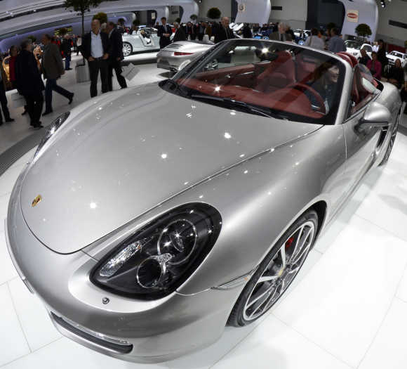 A Porsche Boxster is pictured in a showroom during the annual Volkswagen shareholders meeting in Hamburg.