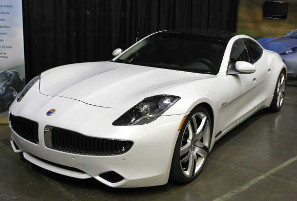 A Fisker Karma luxury plug-in hybrid car is seen in Santa Monica, California.