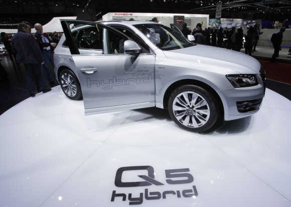 Audi Q5 Hybrid car is pictured in Geneva.
