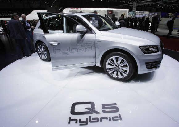 Audi Q5 Hybrid car is pictured in Geneva.