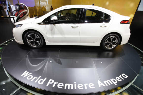 Opel Ampera hybrid car is displayed in Geneva.