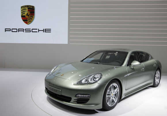 A Porsche Panamera hybrid car is displayed in Geneva.