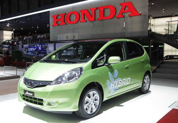 Honda Jazz hybrid car is displayed in Geneva.