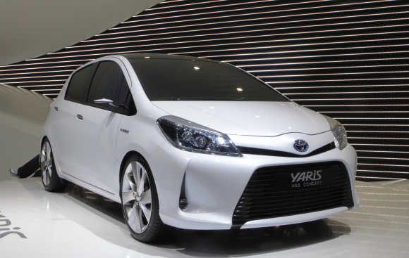 Toyota Yaris HSD Concept hybrid car is displayed in Geneva.