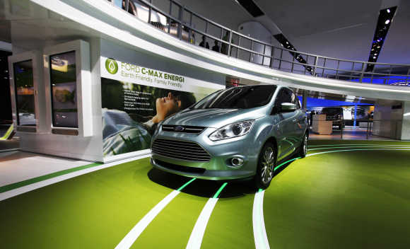 A Ford C-max Energi hybrid car on display in Detroit.
