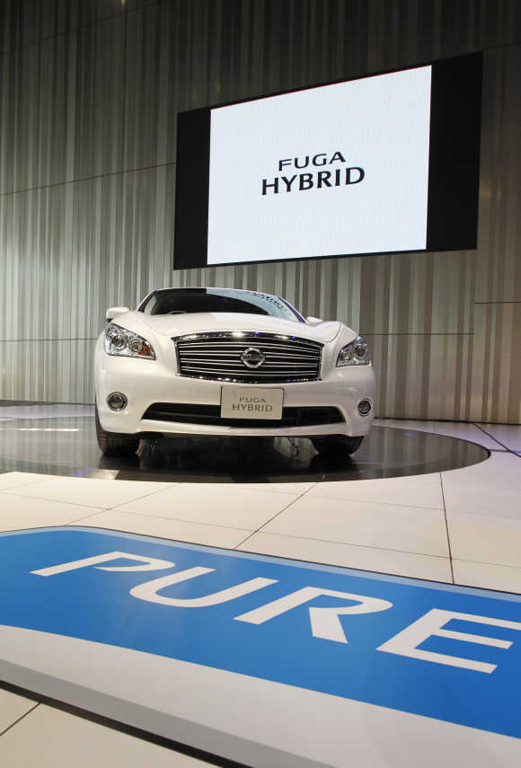 Nissan Motor's Fuga hybrid car is seen at its showroom in Yokohama, south of Tokyo.