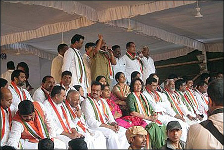 Telangana leaders during a hunger strike in Hyderabad.