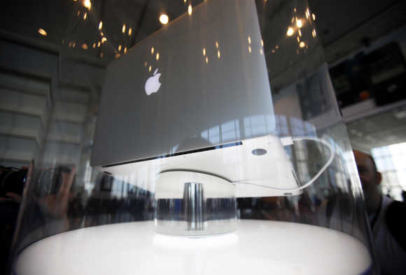 The new MacBook Pro is pictured during the Apple Worldwide Developers Conference 2012 in San Francisc