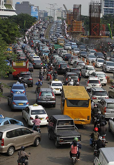 Vehicles are seen in a traffic jam in Jakarta.