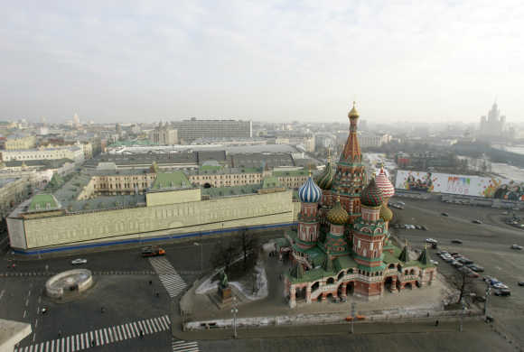 St Basil's Cathedral is pictured in Moscow's Red Square.