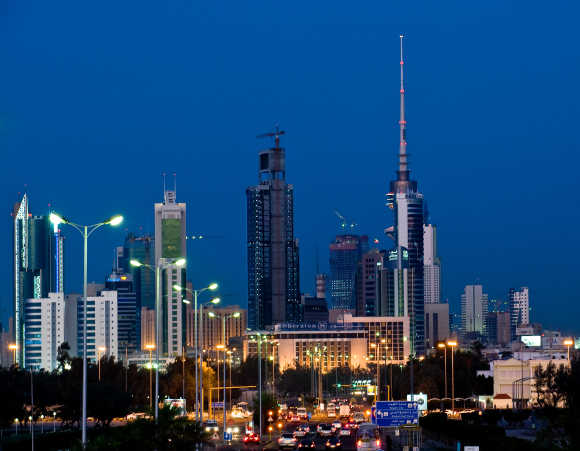 A night view of Kuwait City.