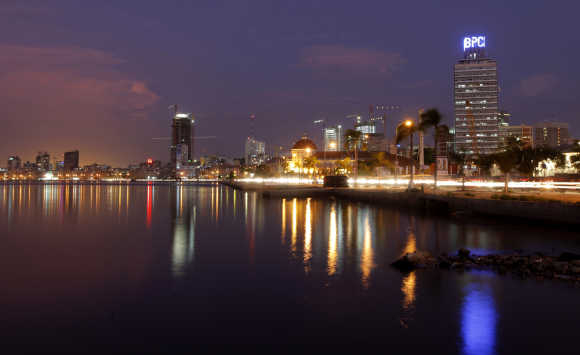 Dusk settles over the Angolan capital, Luanda.