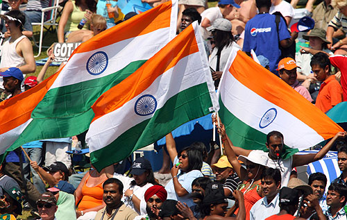 Indian fans cheer for their team during their Twenty20 World Cup cricket match.