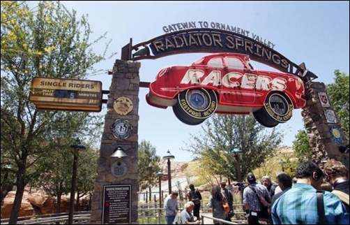 Expanded Disneyland California Adventure Park features a new attraction in Cars Land called Radiator Springs Racers, which gives guests a scenic tour of Ornament Valley in racing convertibles in Anaheim.