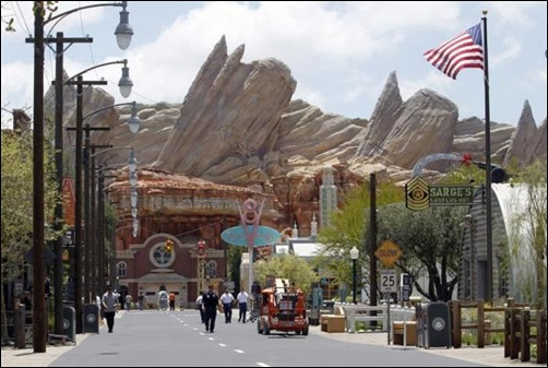 Expanded Disneyland California Adventure Park features a new attraction in Cars Land called Radiator Springs to the park in Anaheim, California.
