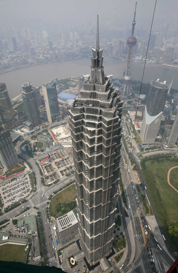 A view of Jinmao tower at the Pudong financial district in Shanghai.