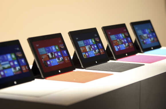 Surface tablet computers are displayed in Los Angeles, California.