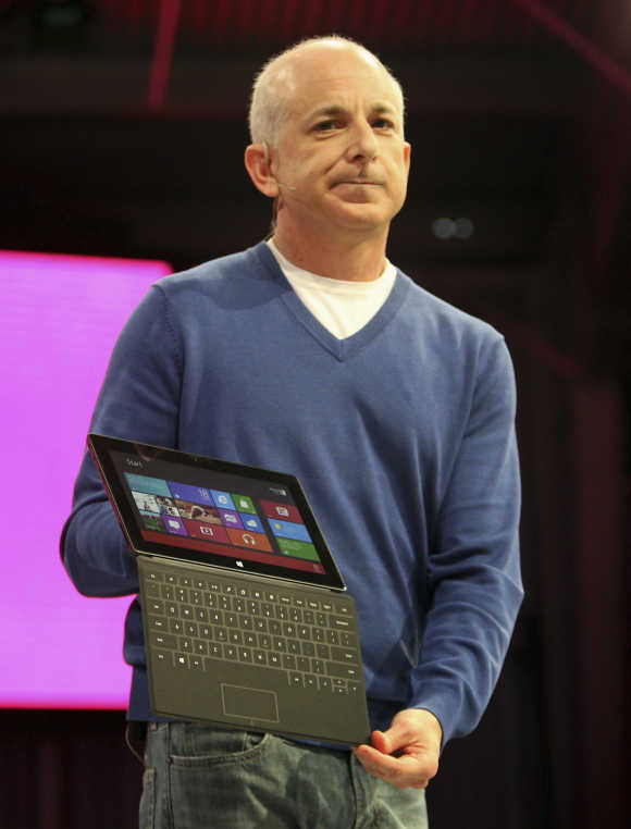 President of the the Windows and Windows Live Division, Steven Sinofsky, holds the Surface tablet computer during his presentation as it is unveiled in Los Angeles, California.