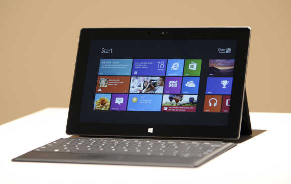 The Surface tablet computer by Microsoft is displayed in Los Angeles, California.