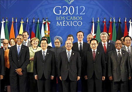 Leaders of the G20 nations gather for a group photo at the G20 summit in Los Cabos, Mexico.