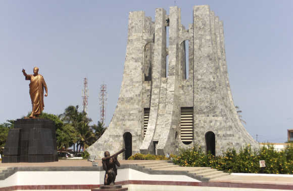 A statue of Ghana's first president Kwame Nkrumah is seen at his memorial park in Accra.