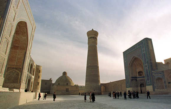 A view of the Kalyan ensemble in Bukhara, Uzbekistan.