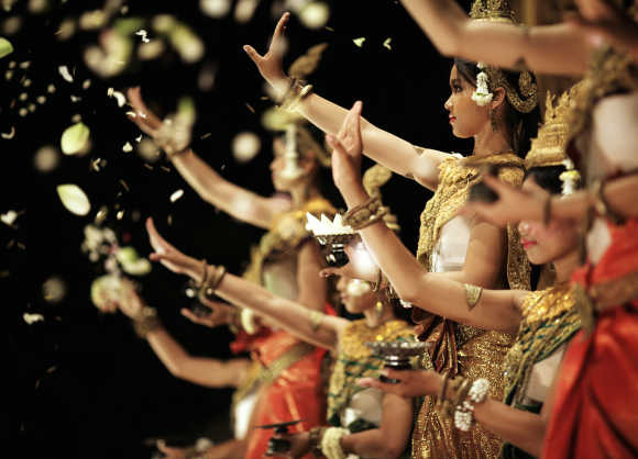 Dancers perform in Siem Reap, Cambodia.