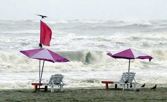 Waves approach the shore along the southern district of Cox's Bazaar, Bangladesh.