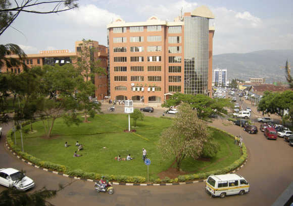 Traffic flows in at the main roundabout in Rwanda's capital Kigali.