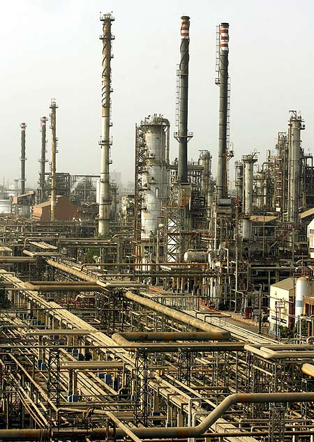 A view of Bharat Petroleum Corporation Ltd refinery is seen in Mumbai.