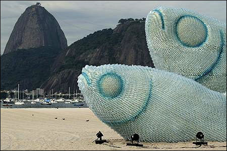 Giant fish made with plastic bottles are exhibited at Botafogo beach, in Rio de Janeiro June 19, 2012.