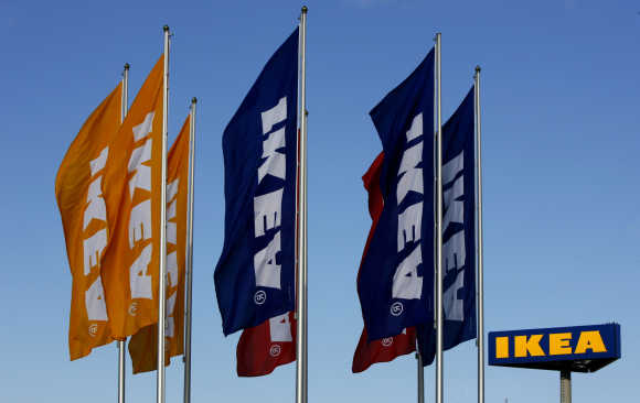 Flags flutter outside Ikea's store in Malmo, Sweden.