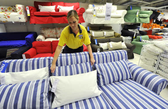 An Ikea employee works at the Wembley branch in west London.