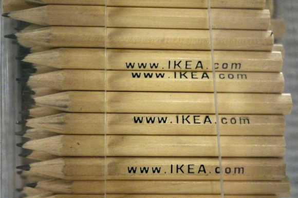 Pencils used by shoppers to list their items are seen in a rack at Ikea's retail outlet in Croydon, south London.