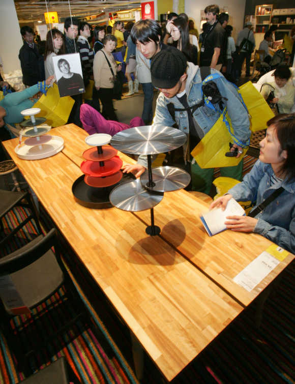 People look around at Ikea's store in Japan in Funabashi, east of Tokyo.