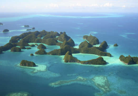 An aerial view of islands in Palau.