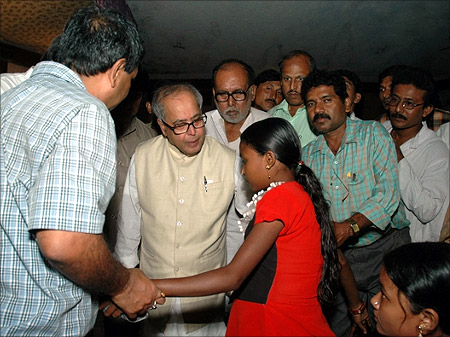 Pranab Mukherjee with his supporters.