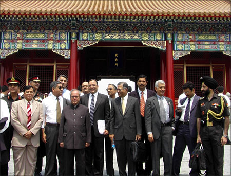 Pranab Mukherjee during a foreign trip.