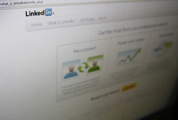 A page from the LinkedIn website is seen in Singapore.