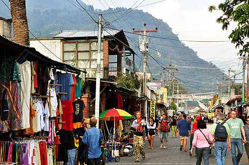 Calle Santander tourist street in Panajachel, Guatemala