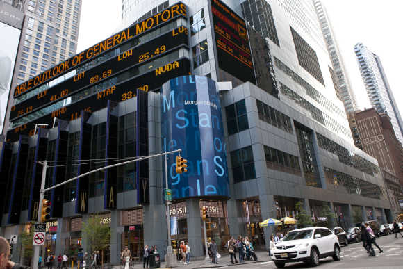 Morgan Stanley's New York headquarters are seen at the corner of 48th Street and Broadway in New York.