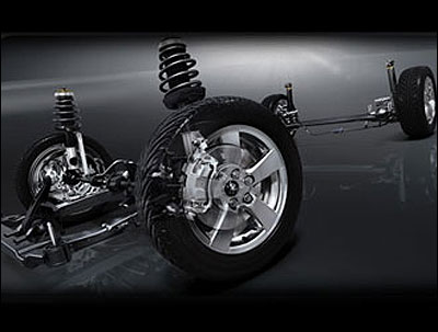 A McPherson strut-type front suspension.